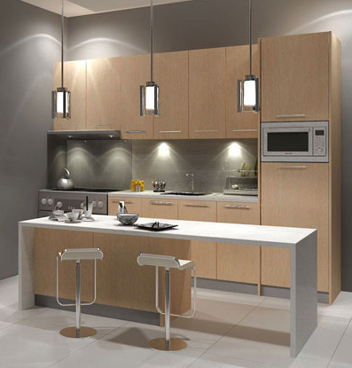 Galley Kitchen Design Layout With Small Table In Front Of The Kitchen  Cabinet. This Small Kitchen Design Suitable For Condominium In Malaysia.