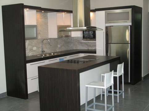 Panduan ubahsuai kediaman kitchen cabinet design for L kitchen layout with island